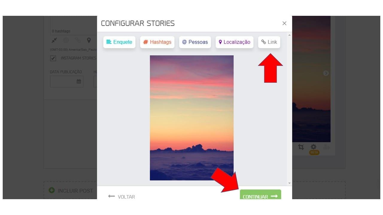 colocar link no stories do Instagram pela mlabs - passo 3