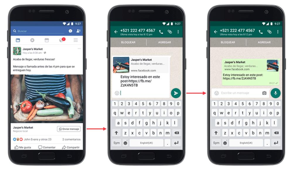 botão enviar mensagem do facebook para whatsapp