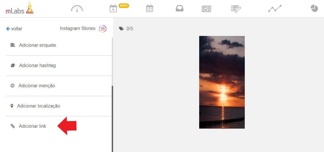 Colocar Link no Instagram pela mLabs: imagem da tela de agendamento da ferramenta mLabs.