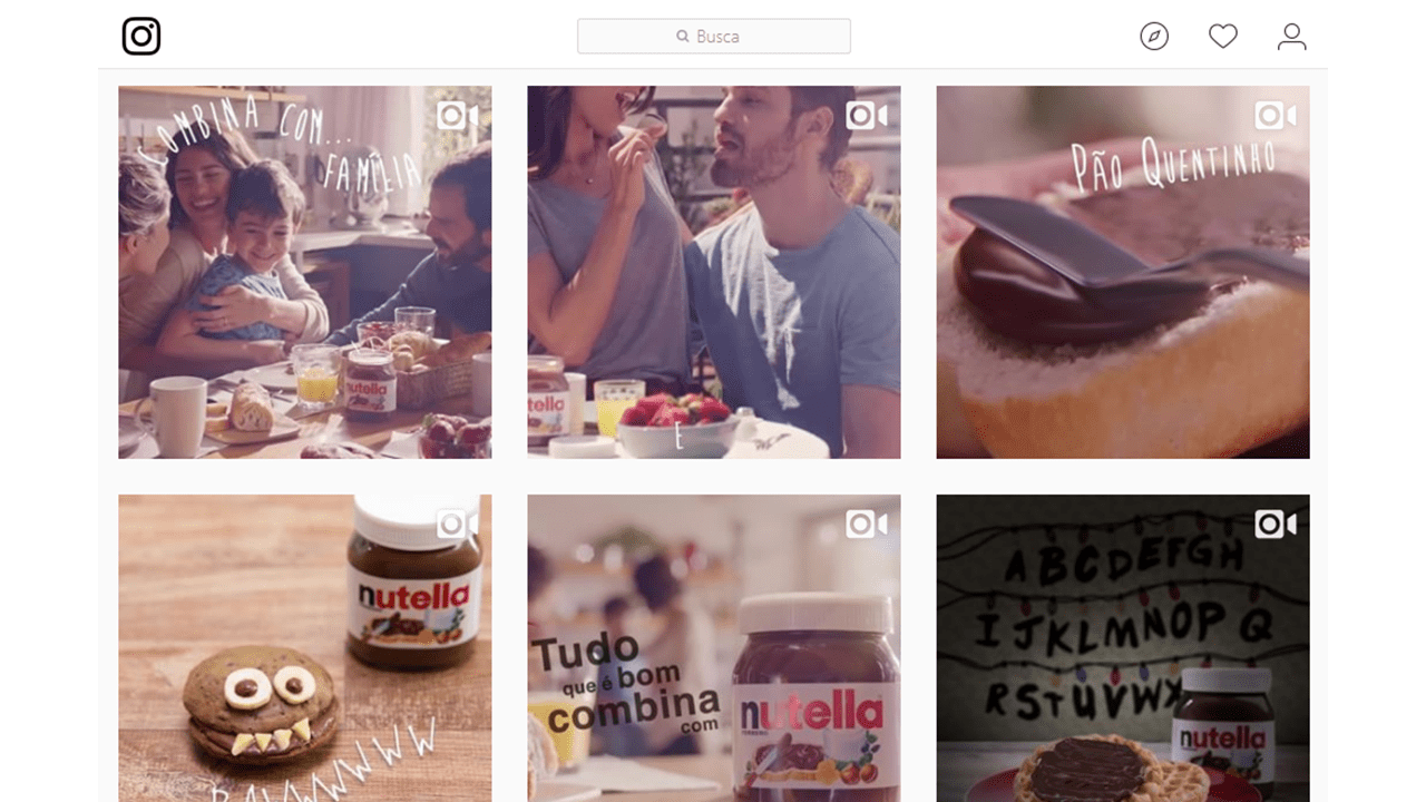 vídeos no instagram - nutella