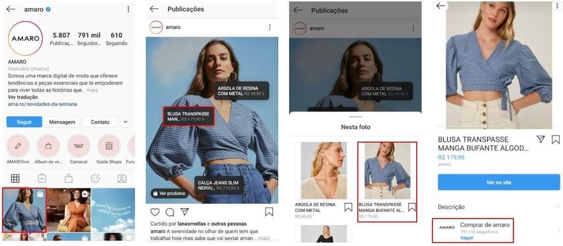 Loja no Instagram: imagem da loja no Instagram da marca amaro com uma mulher vestindo uma jaqueta jeans à venda