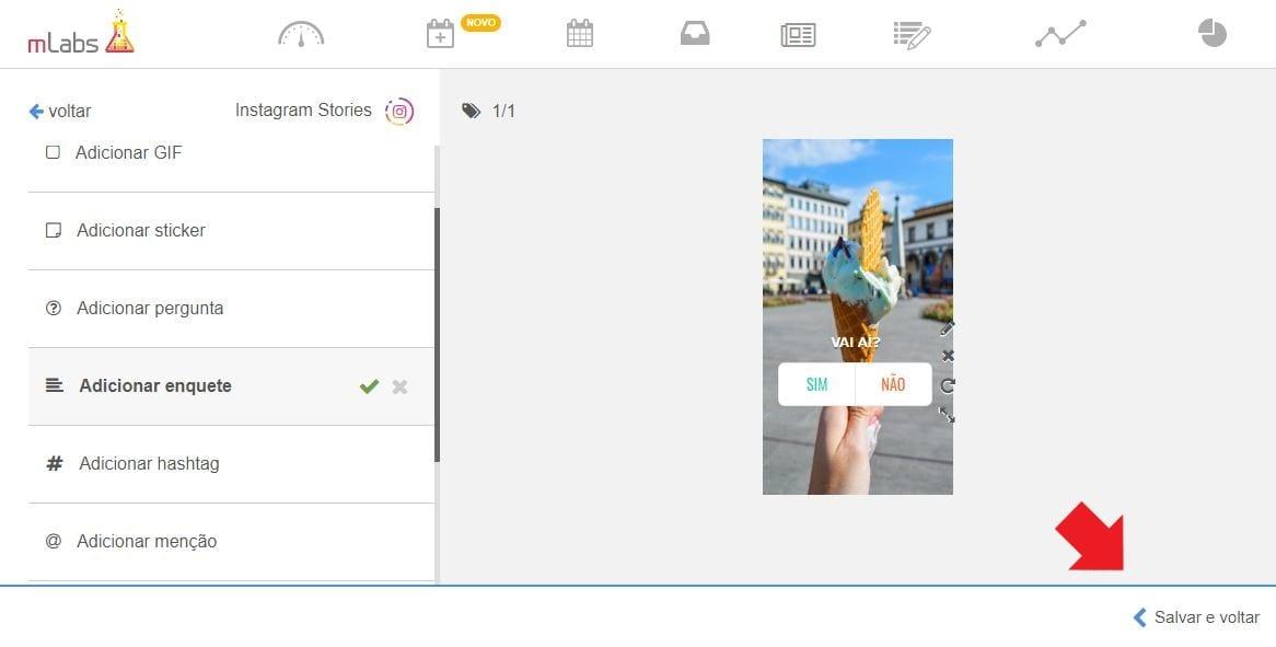 Enquete Instagram Stories: imagem da tela de agendamento da ferramenta mLabs.