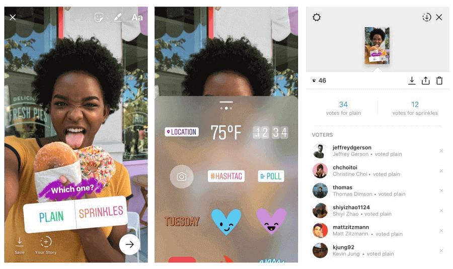 gerenciamento de redes sociais: imagem de três telas do Instagram mostrando como adicionar enquetes nos Stories