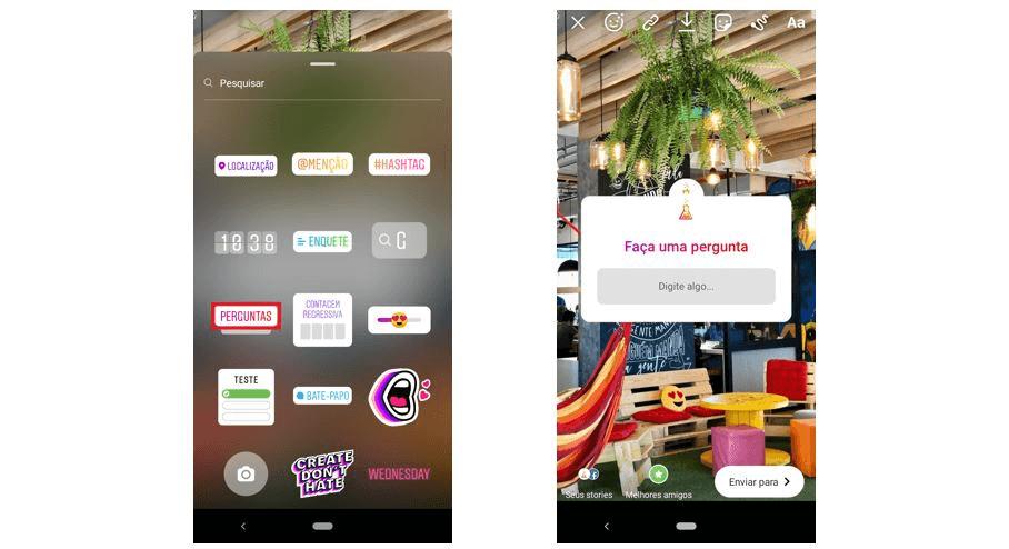 gerenciamento de redes sociais: imagem de duas telas do Instagram mostrando como adicionar perguntas nos Stories