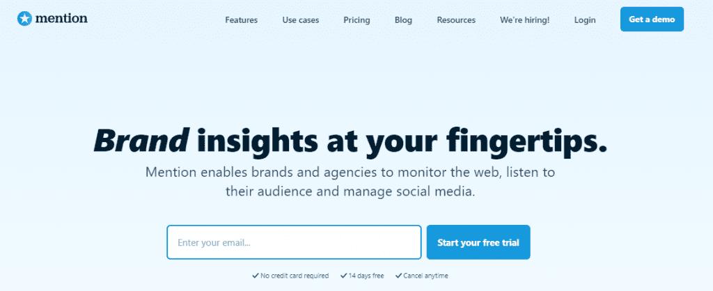 ferramenta de monitoramento de redes sociais: imagem da página da mention