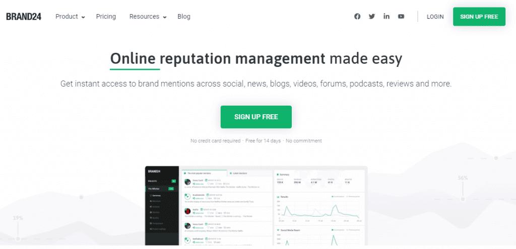 ferramenta de monitoramento de redes sociais: imagem do site brand 24