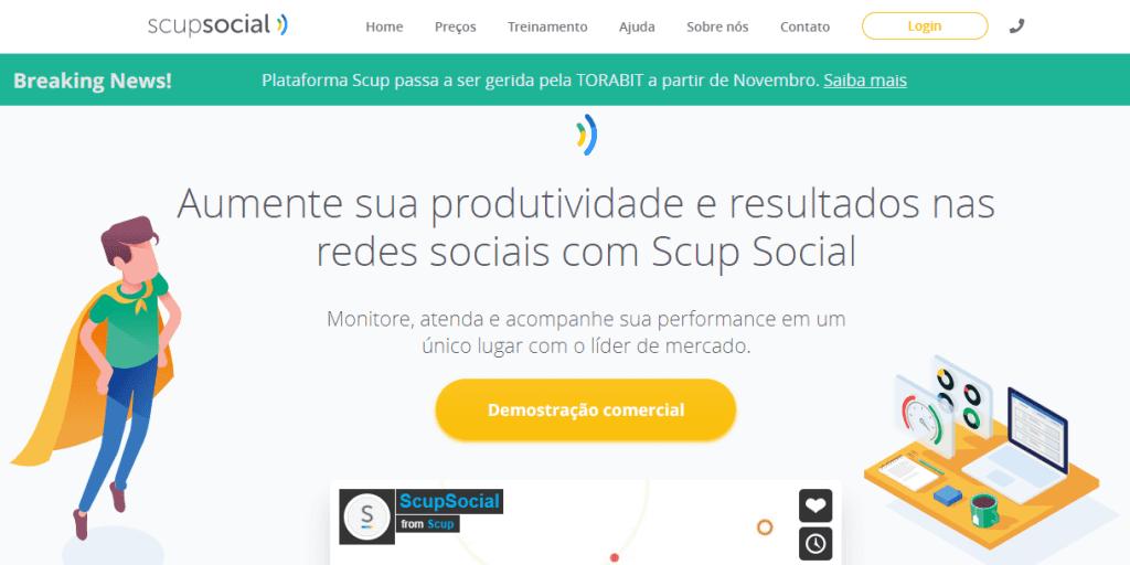 ferramenta de monitoramento de redes sociais: imagem do site scup social