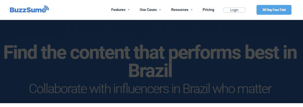 ferramenta de monitoramento de redes sociais: imagem do site buzzsumo