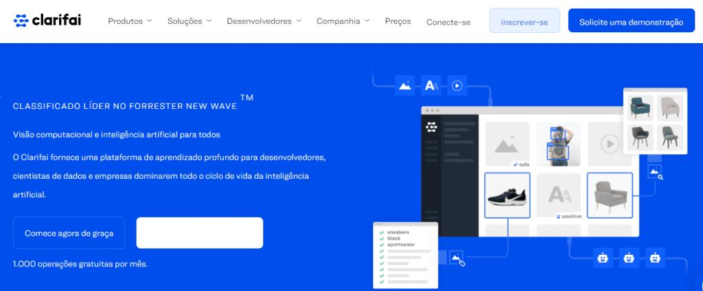 ferramenta de monitoramento de redes sociais: imagem do site Clarifai