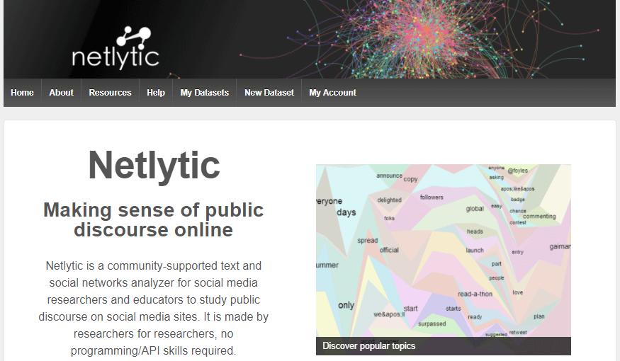 ferramenta de monitoramento de redes sociais: imagem do site Netlytic