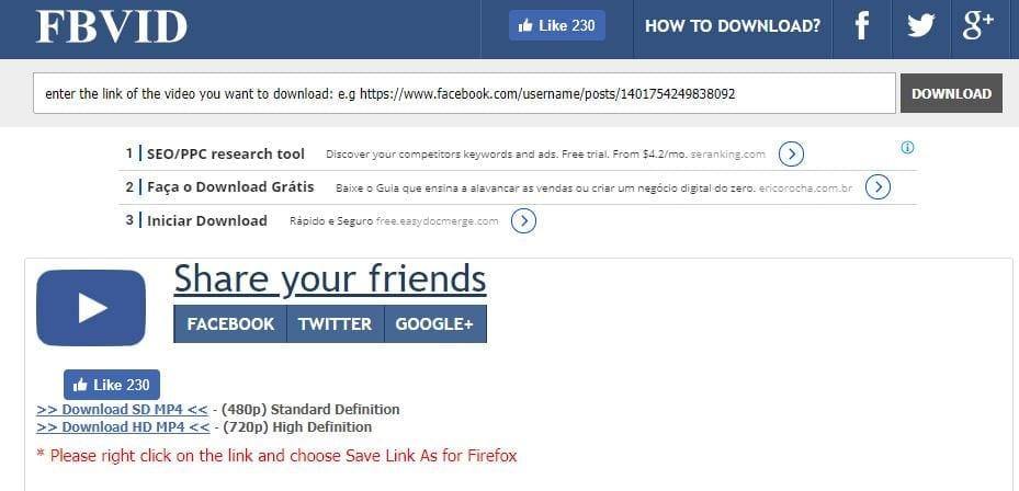baixar vídeos do facebook fbvid