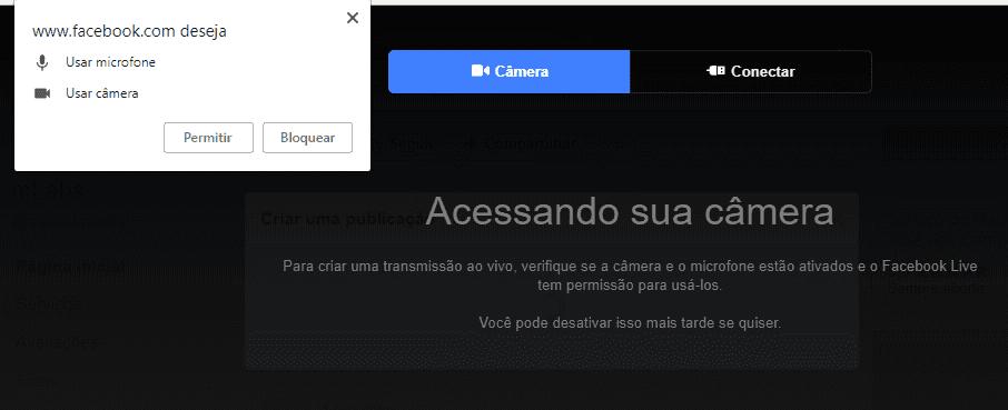 Facebook live pelo computador - transmissão