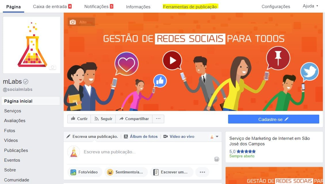 Facebook live com software de codificação