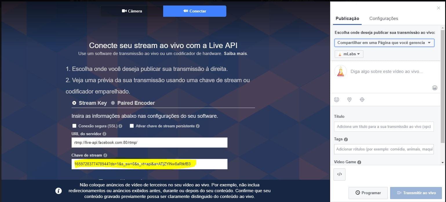 Facebook live software de codificação