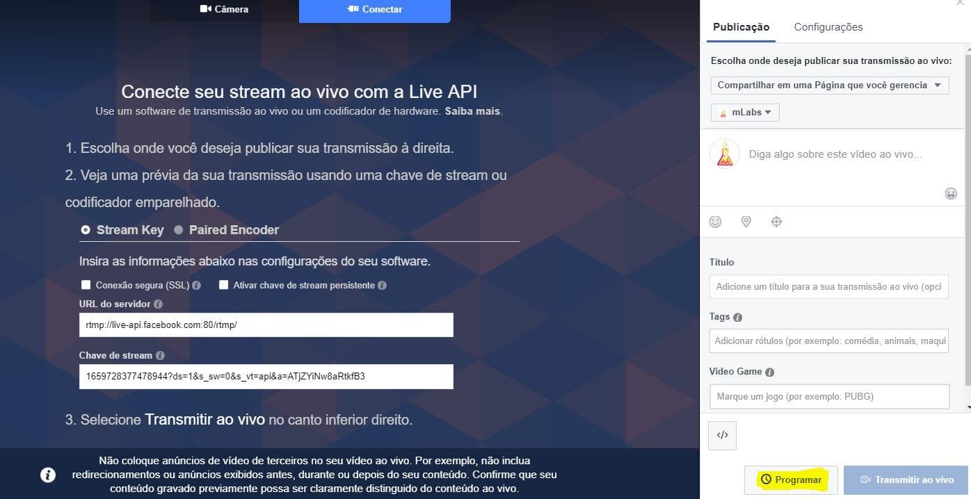 Facebook live software de codificação - programar transmissão