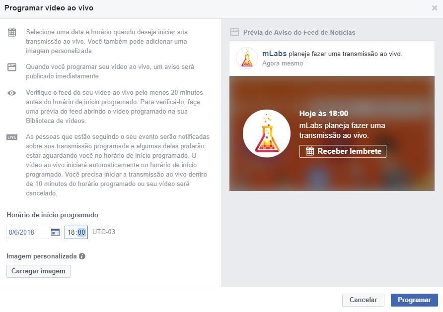 Facebook live software de codificação - transmissão ao vivo