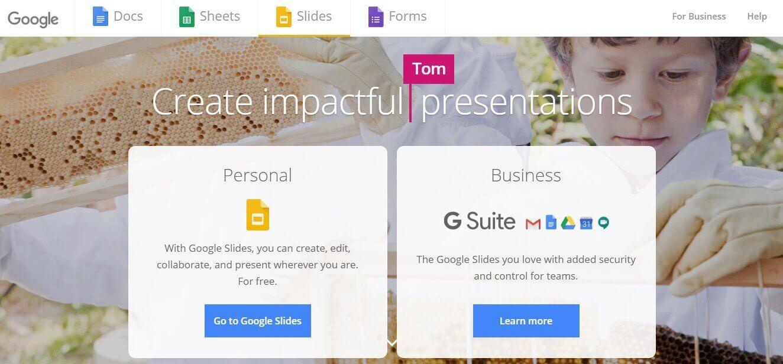 App para criar imagens para Instagram: imagem da página do Google Slides