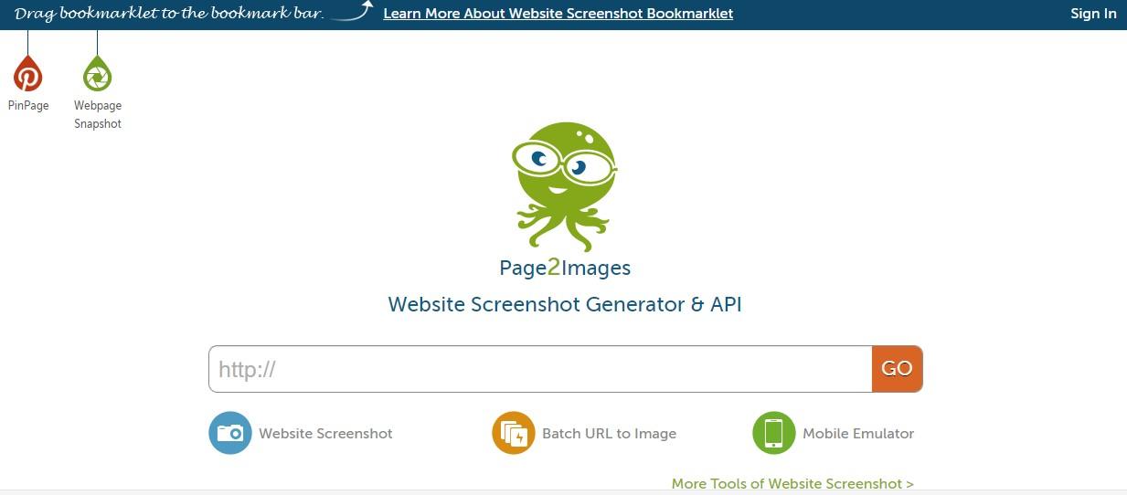 App para criar imagens para Instagram: imagem da página do Page2Images