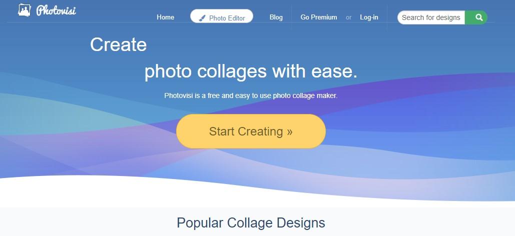 App para criar imagens para Instagram: imagem da página do Photovisi