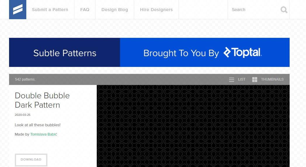 App para criar imagens para Instagram: imagem da página do Subtle Patterns