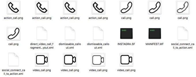 ícones chamada de vídeo instagram - evidencias