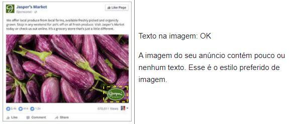 Facebook text overlay: imagem de um anúncio com texto em sobreposição ok