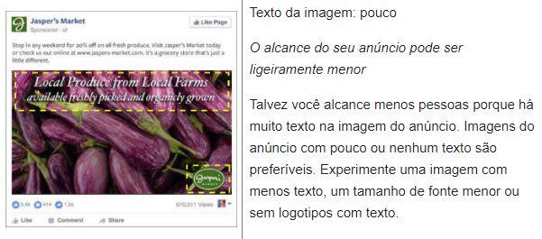 Facebook text overlay: imagem de um anúncio com texto em sobreposição baixa