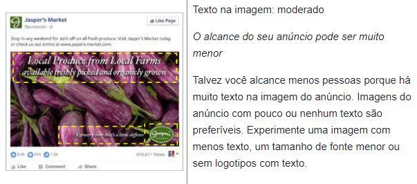 Facebook text overlay: imagem de um anúncio com texto em sobreposição moderada