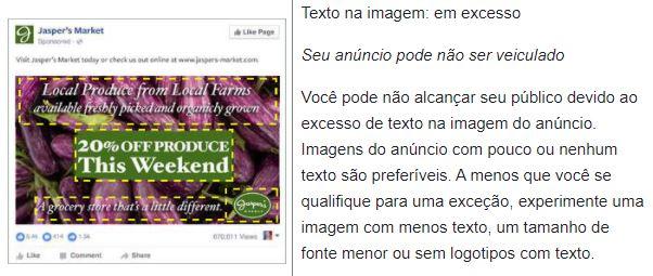 Facebook text overlay: imagem de um anúncio com texto em sobreposição alta