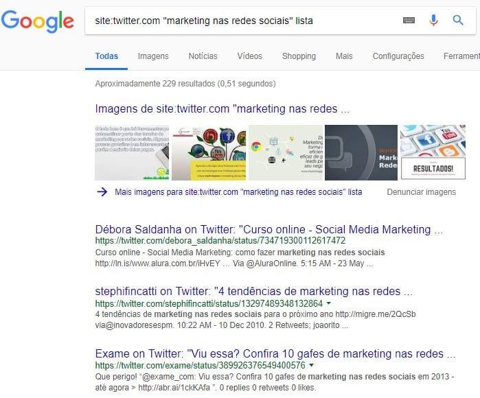 busca avançada para encontrar listas no twitter
