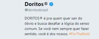 bio no twitter Doritos