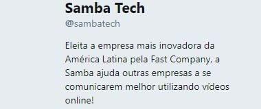 bio no twitter samba tech