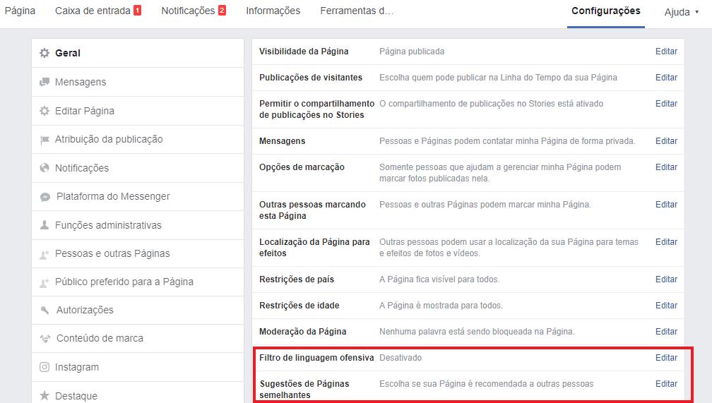 tela de configurações para moderar comentários no facebook