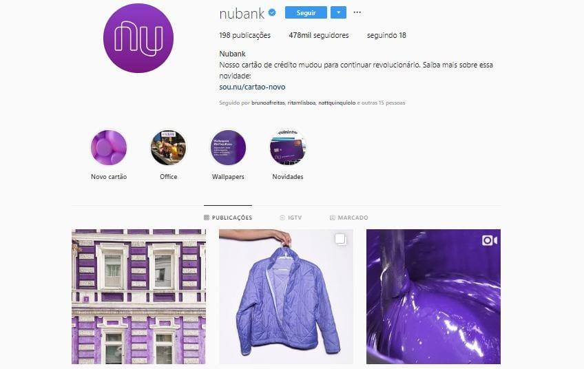 nubank perfil no instagram
