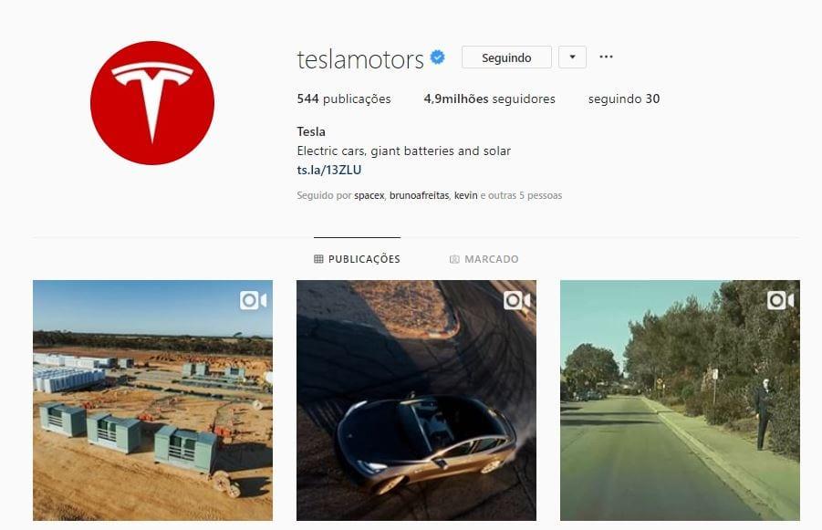 tesla perfil no instagram