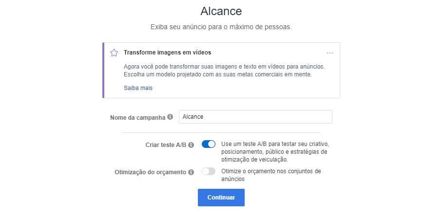 testes no facebook criando um anúncio