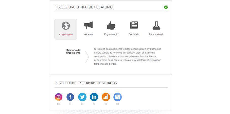 Gerenciador de redes sociais: imagem da página de relatórios da mLabs.