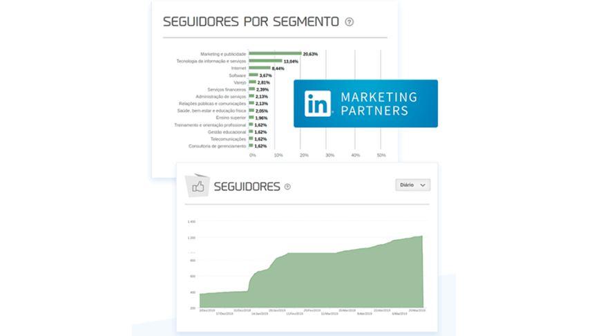 Gerenciador de redes sociais: imagem da página de relatórios da mLabs, mostrando os gráficos do LinkedIn