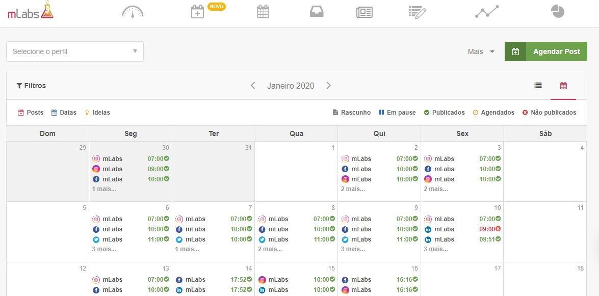 Gerenciador de redes sociais: imagem da página de calendário da mLabs.