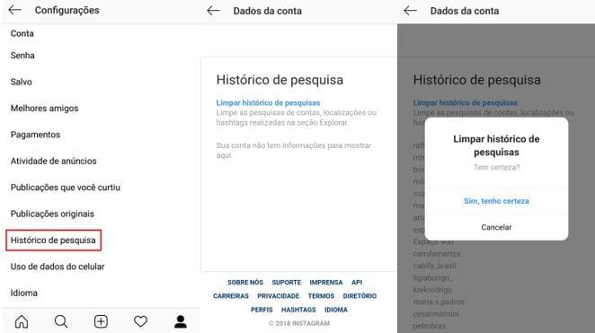 sugestões de pesquisa no instagram