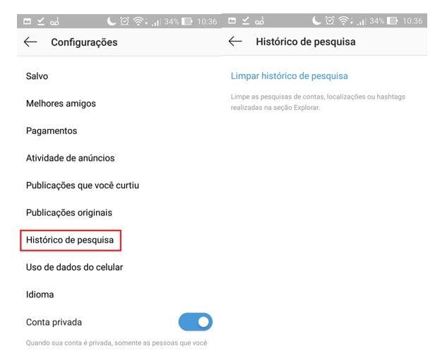 dicas de instagram apagar histórico