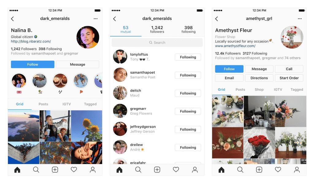 Novas funcionalidades do perfil do Instagram
