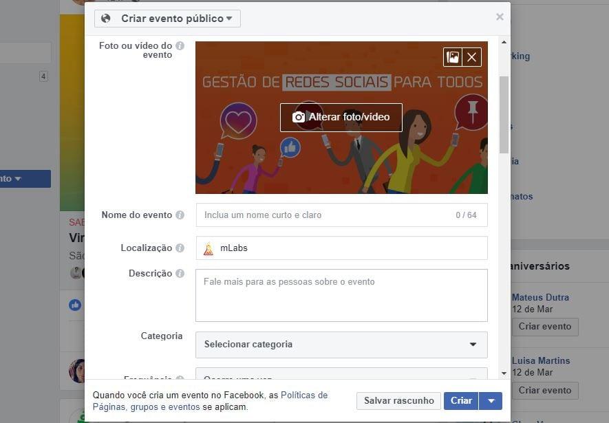 como criar evento no facebook 3