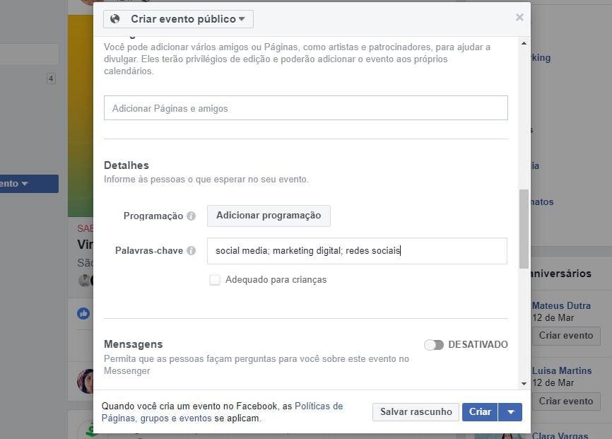 como criar evento no facebook 5