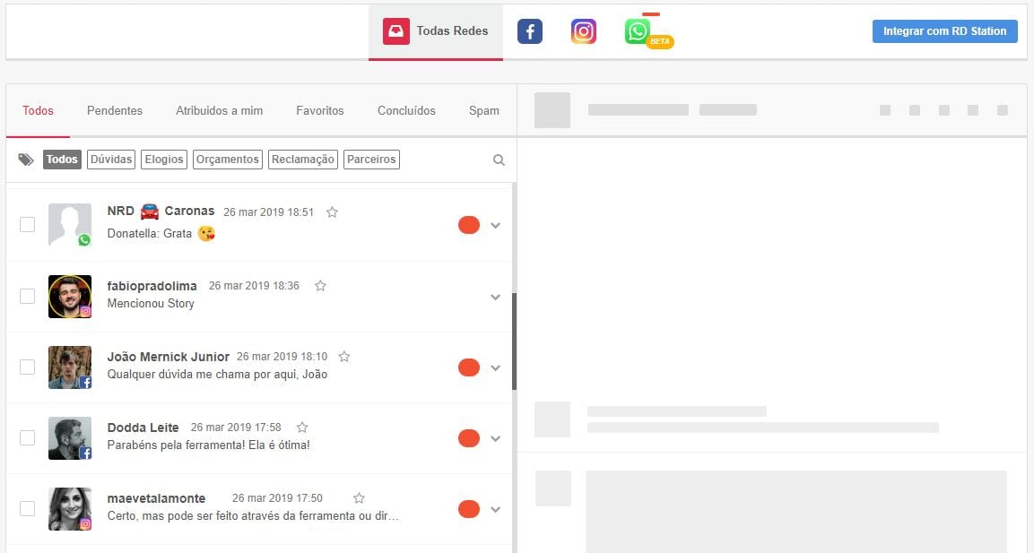 Atendimento em redes sociais pela mLabs: tela inbox