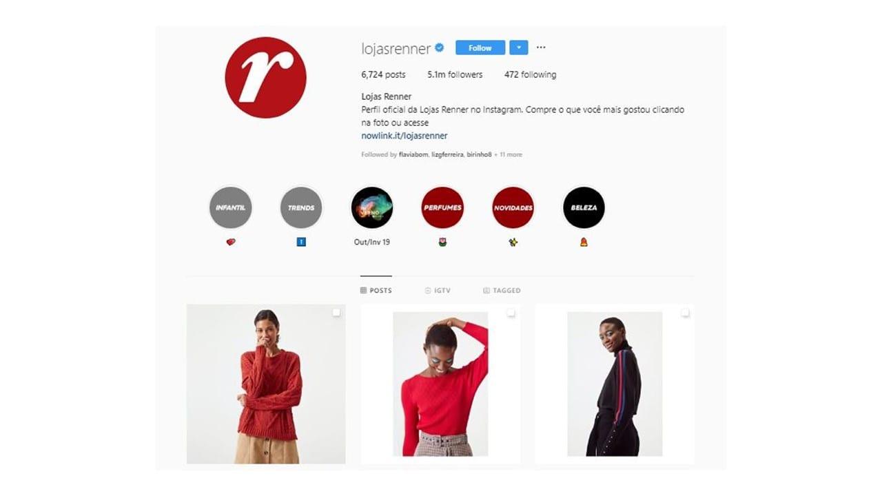 Destaques Instagram: imagem do perfil das Lojas Renner no Instagram.