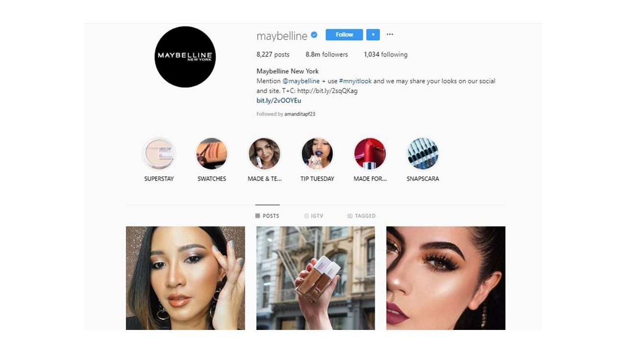 Destaques Instagram Mabelline: Imagem do perfil da Mabelline no Instagram.