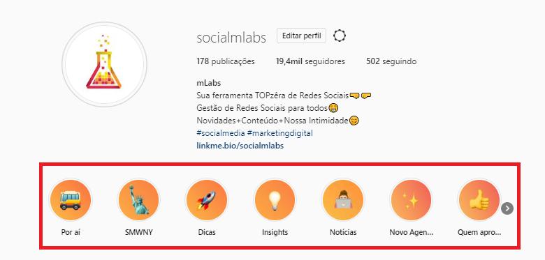 destaques instagram