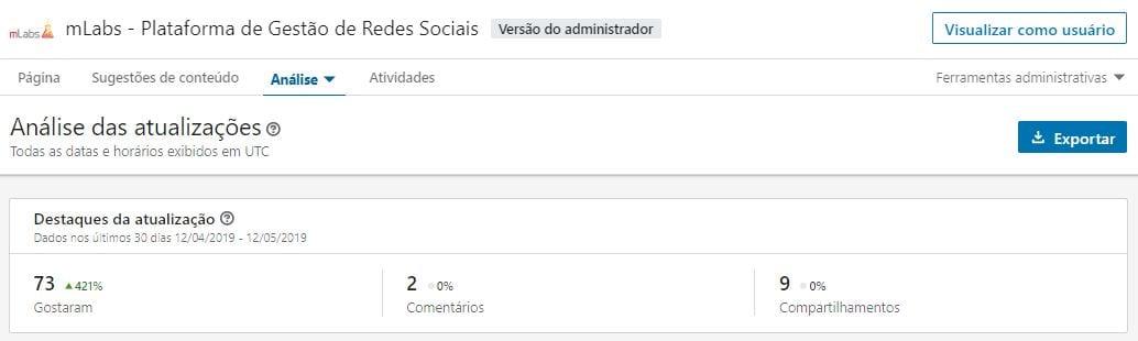 Linkedin Analytics Atualizações