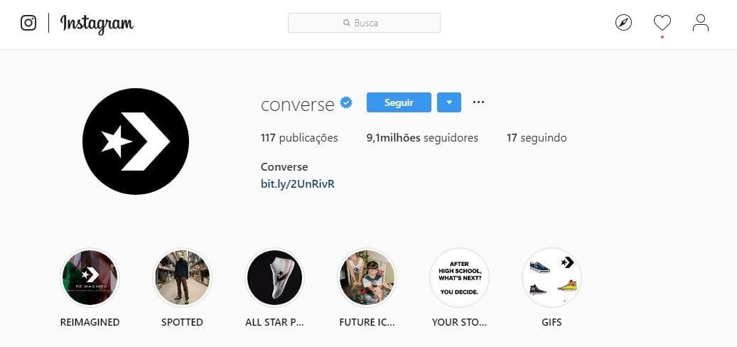 Foto de perfil do Instagram: imagem do perfil da Converse no Instagram.